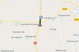A7 in beide richtingen afgesloten bij Middenmeer door ongelukken na hagelbui
